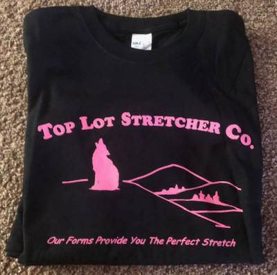 Top Lot Stretcher Co. T-shirt - Black w/pink lettering