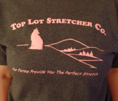Top Lot Stretcher Co. T-shirt - Heather Grey w Pink Lettering